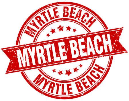 myrtle beach: Myrtle Beach red round grunge vintage ribbon stamp Illustration