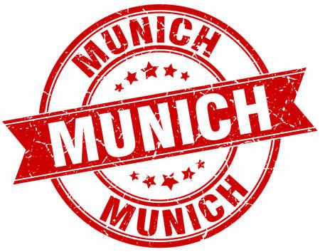 rubber band: Munich red round grunge vintage ribbon stamp Illustration
