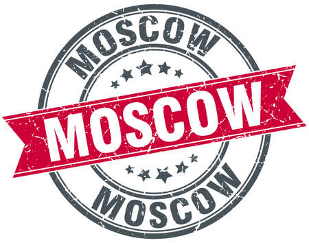 moscow: Moscow red round grunge vintage ribbon stamp