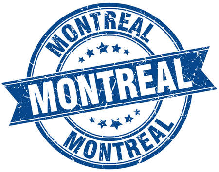 montreal: Montreal blue round grunge vintage ribbon stamp Illustration