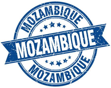 mozambique: Mozambique blue round grunge vintage ribbon stamp