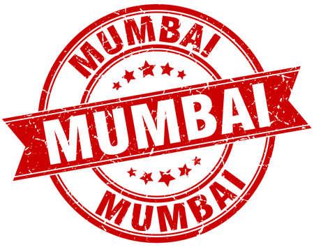 mumbai: Mumbai red round grunge vintage ribbon stamp