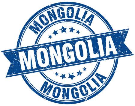 mongolia: Mongolia blue round grunge vintage ribbon stamp
