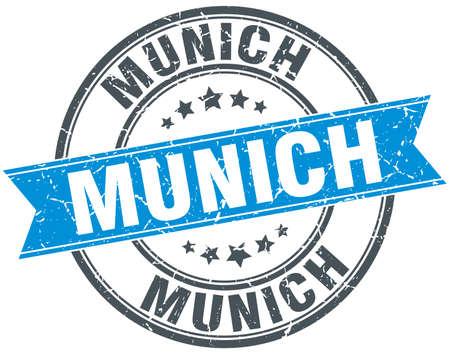 munich: Munich blue round grunge vintage ribbon stamp Illustration
