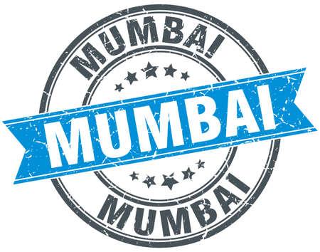 mumbai: Mumbai blue round grunge vintage ribbon stamp