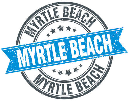 myrtle: Myrtle Beach blue round grunge vintage ribbon stamp Illustration