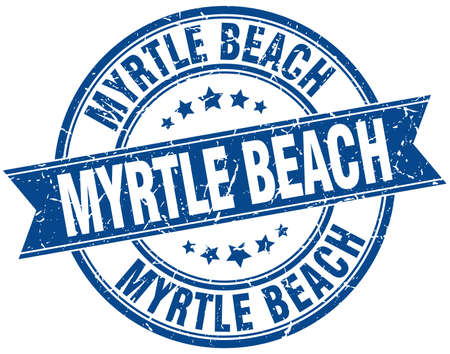myrtle beach: Myrtle Beach blue round grunge vintage ribbon stamp Illustration