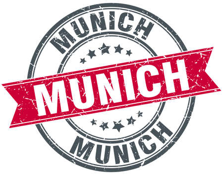 munich: Munich red round grunge vintage ribbon stamp Illustration