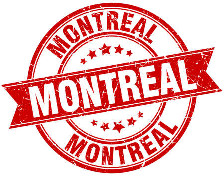 montreal: Montreal red round grunge vintage ribbon stamp