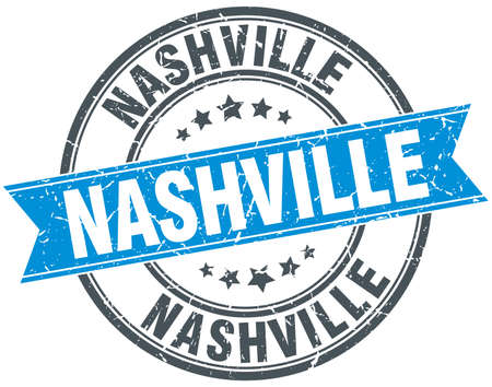 nashville: Nashville blue round grunge vintage ribbon stamp