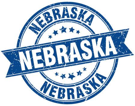 nebraska: Nebraska blue round grunge vintage ribbon stamp
