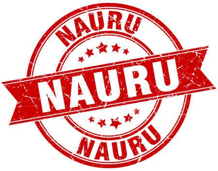 nauru: Nauru red round grunge vintage ribbon stamp