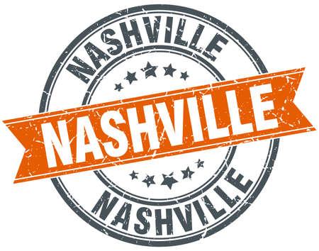 nashville: Nashville red round grunge vintage ribbon stamp