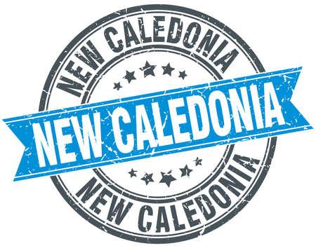 new caledonia: New Caledonia blue round grunge vintage ribbon stamp Illustration