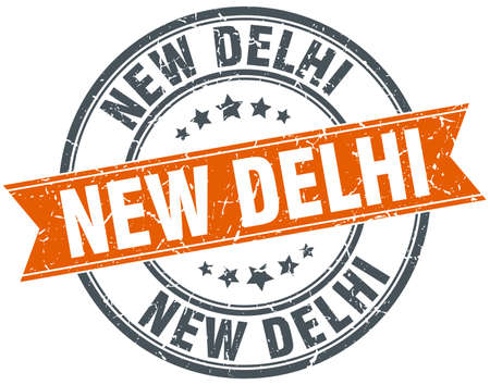 new delhi: New Delhi red round grunge vintage ribbon stamp