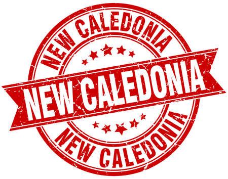 new caledonia: New Caledonia red round grunge vintage ribbon stamp Illustration