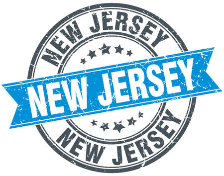 new jersey: New Jersey blue round grunge vintage ribbon stamp