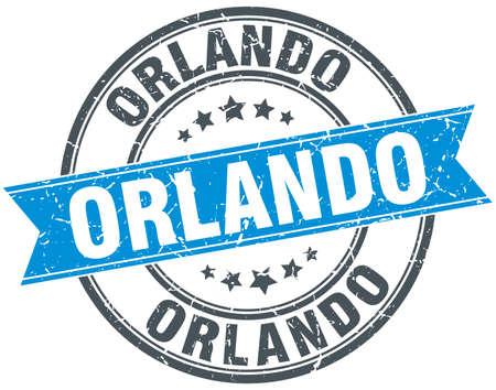orlando: Orlando blue round grunge vintage ribbon stamp