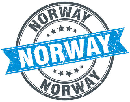 norway: Norway blue round grunge vintage ribbon stamp