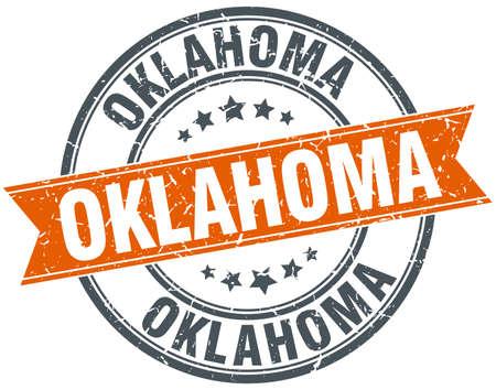 oklahoma: Oklahoma red round grunge vintage ribbon stamp Illustration
