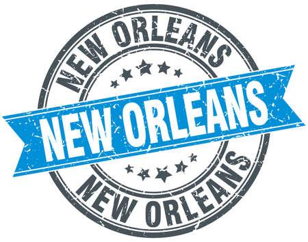 new orleans: New Orleans blue round grunge vintage ribbon stamp