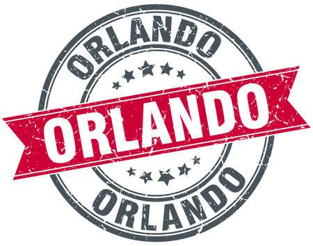 orlando: Orlando red round grunge vintage ribbon stamp Illustration