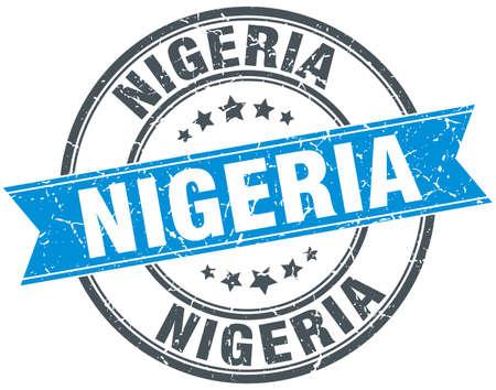 azul turqueza: Nigeria blue round grunge vintage ribbon stamp Vectores