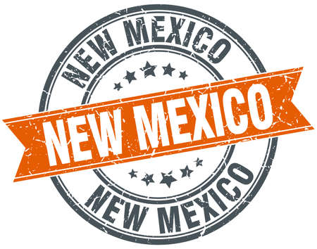 new mexico: New Mexico red round grunge vintage ribbon stamp Illustration