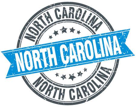 north carolina: North Carolina blue round grunge vintage ribbon stamp Illustration