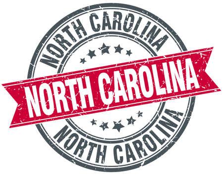 north carolina: North Carolina red round grunge vintage ribbon stamp Illustration