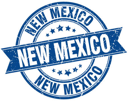 new mexico: New Mexico blue round grunge vintage ribbon stamp