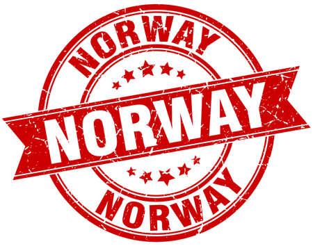norway: Norway red round grunge vintage ribbon stamp