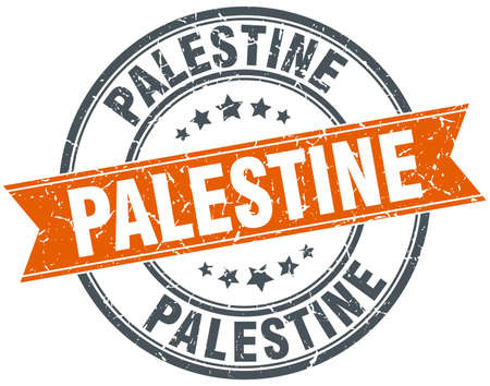 palestine: Palestine red round grunge vintage ribbon stamp