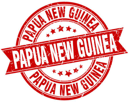 rubber band: Papua New Guinea red round grunge vintage ribbon stamp
