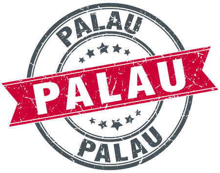 palau: Palau red round grunge vintage ribbon stamp Illustration