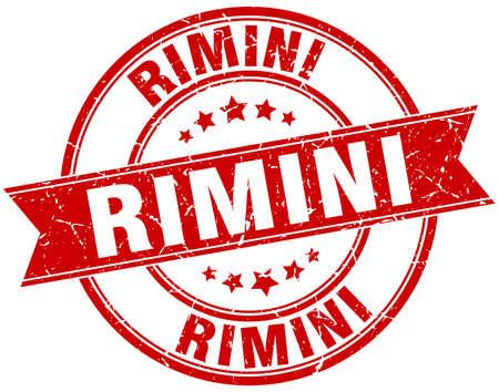 rimini: Rimini red round grunge vintage ribbon stamp Illustration