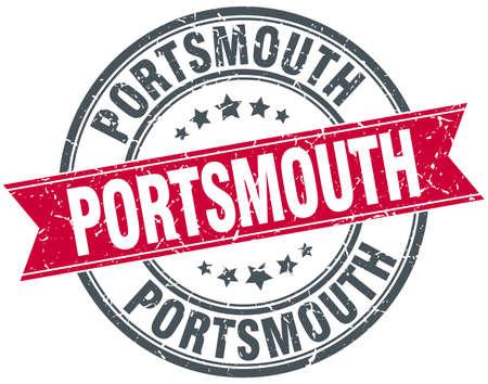 portsmouth: Portsmouth red round grunge vintage ribbon stamp