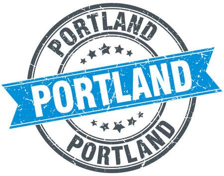 portland: Portland blue round grunge vintage ribbon stamp