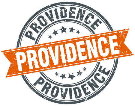 providence: Providence red round grunge vintage ribbon stamp Illustration
