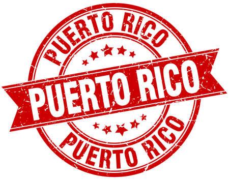 rico: Puerto Rico red round grunge vintage ribbon stamp Illustration