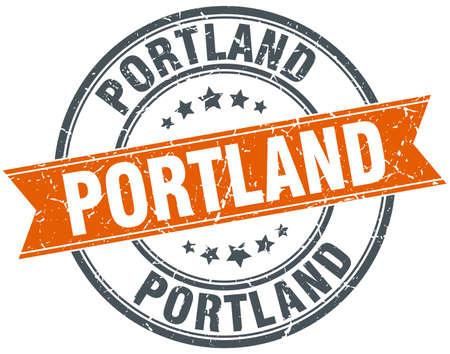 portland: Portland red round grunge vintage ribbon stamp Illustration