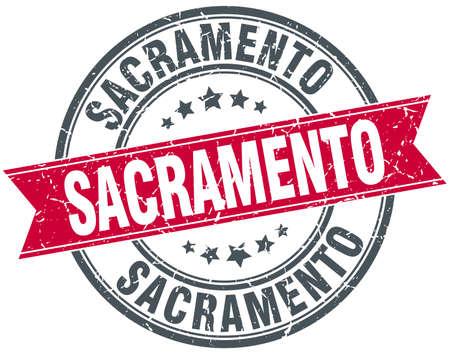 sacramento: Sacramento red round grunge vintage ribbon stamp