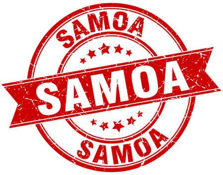 samoa: Samoa red round grunge vintage ribbon stamp Illustration