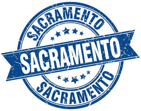 sacramento: Sacramento blue round grunge vintage ribbon stamp Illustration