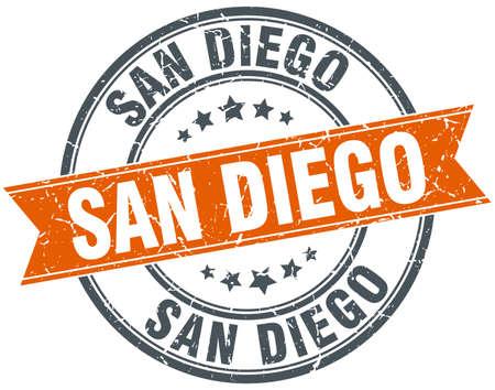 san diego: San Diego red round grunge vintage ribbon stamp Illustration