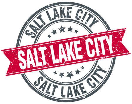 salt lake city: Salt Lake City red round grunge vintage ribbon stamp