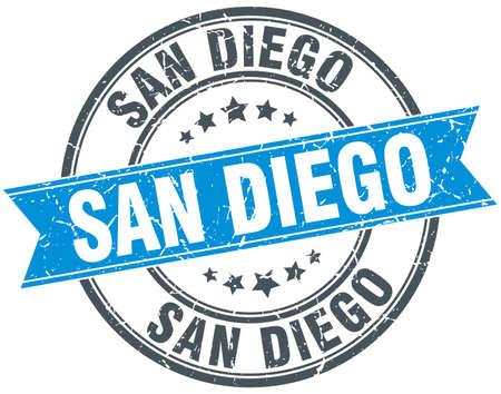 san diego: San Diego blue round grunge vintage ribbon stamp