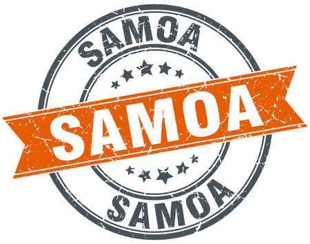 samoa: Samoa red round grunge vintage ribbon stamp Illustration