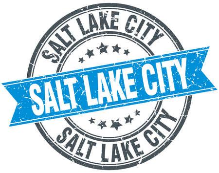 salt lake city: Salt Lake City blue round grunge vintage ribbon stamp