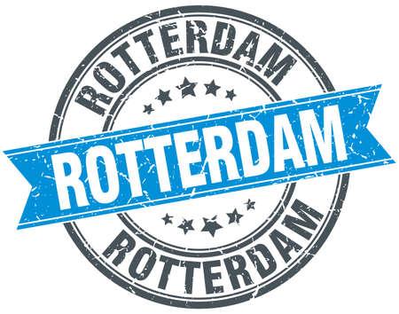 rotterdam: Rotterdam blue round grunge vintage ribbon stamp